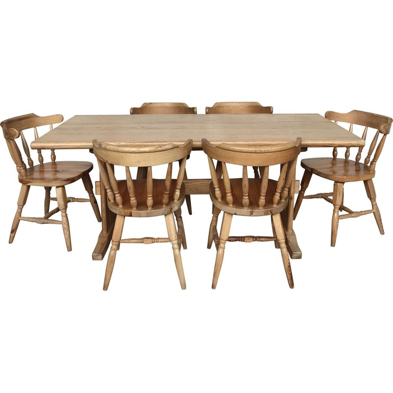 Vintage pine table and chairs set 1950-1960