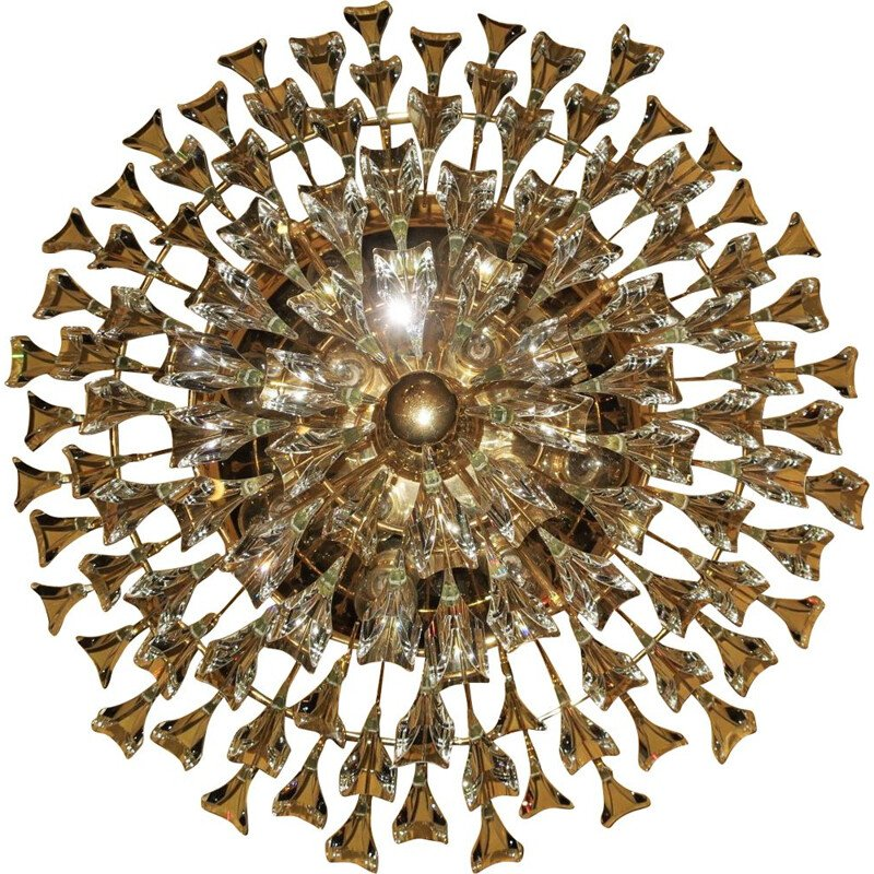 Vintage gilt brass and crystal chandelier by Stilkronen, Italy, 1970s