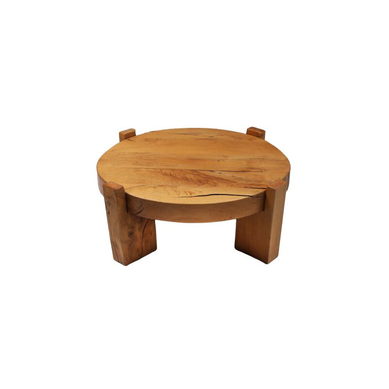 Vintage Solid Oak Round Coffee Table 1960