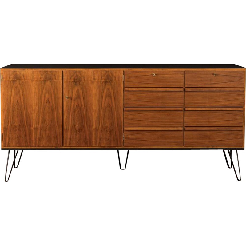 Vintage walnut sideboard with 8 drawers,Germany, 1950s