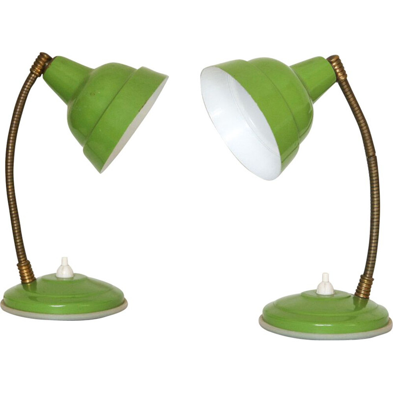 Pair of vintage green nightstand lamps, 1960s
