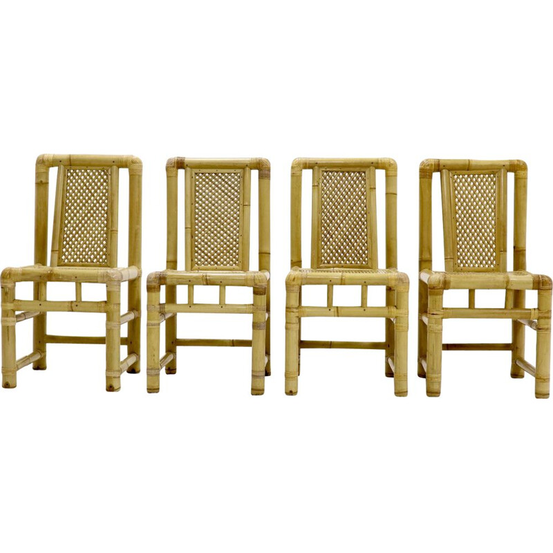 Vintage set of 4 bamboo dining chairs in Tropicalist Style 1970