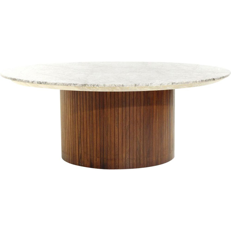 Vintage Coffee table in wood and marble by Umberto Brandigi, 1960s