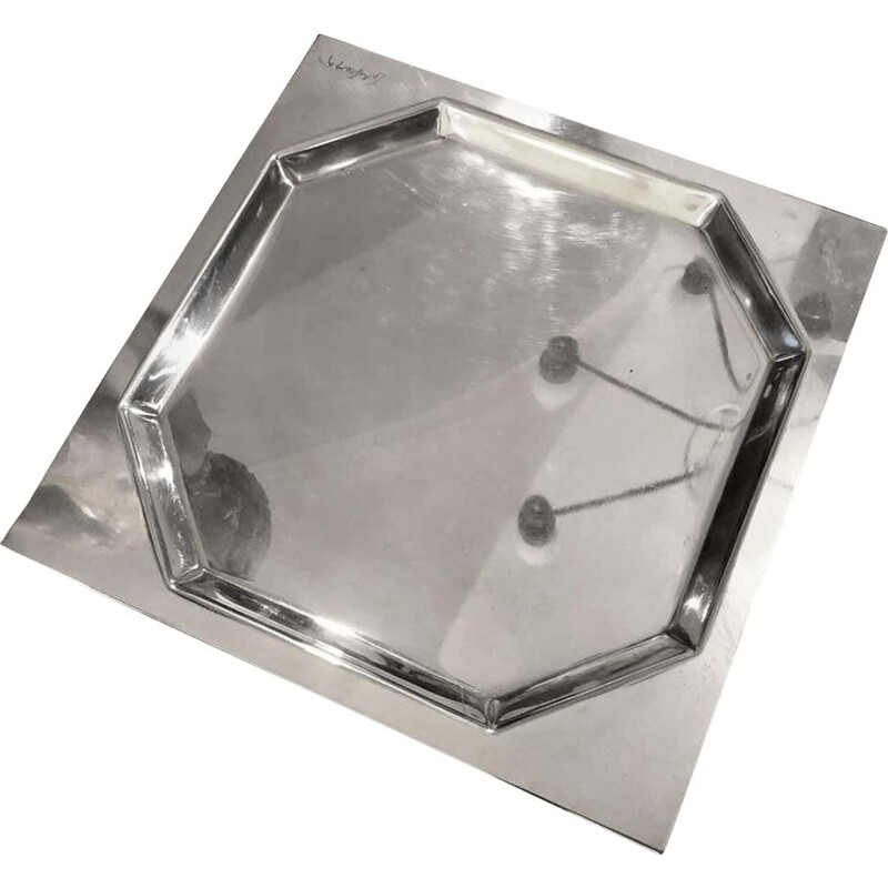Vintage Silver Plated Squared Italian Tray by Carlo Scarpa for Cleto Munari, 1970