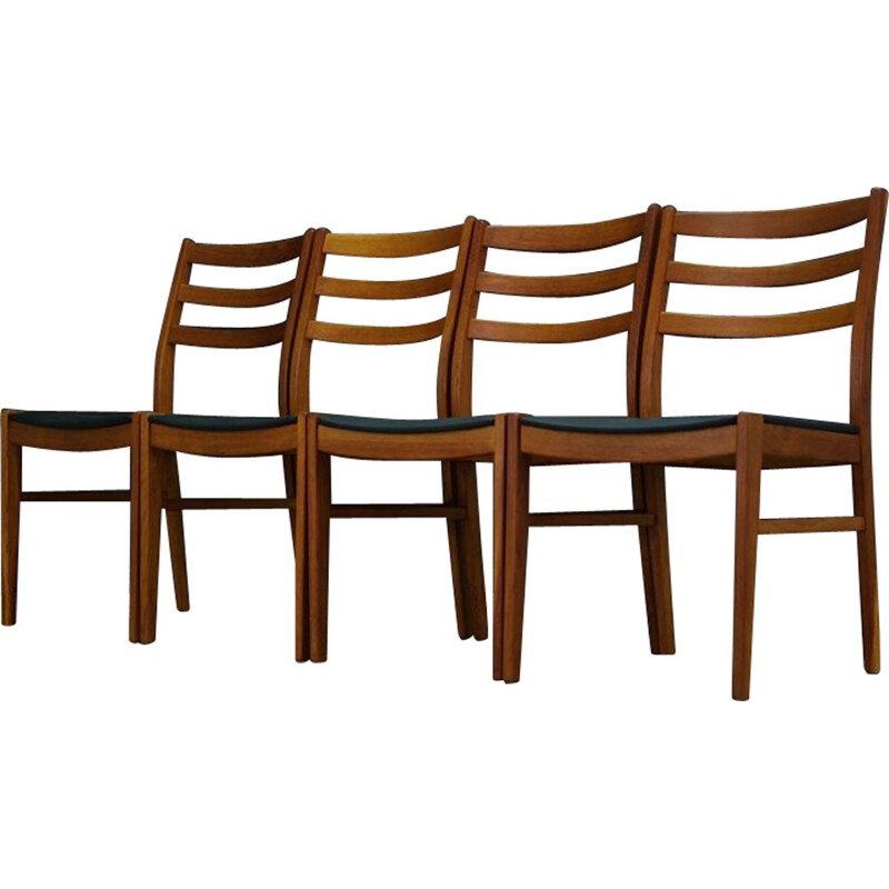 Set of 4 vintage chairs in eco leather and beech 1970s