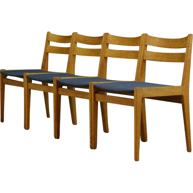 Set of 4 vintage danish chairs in ashwood 1970s