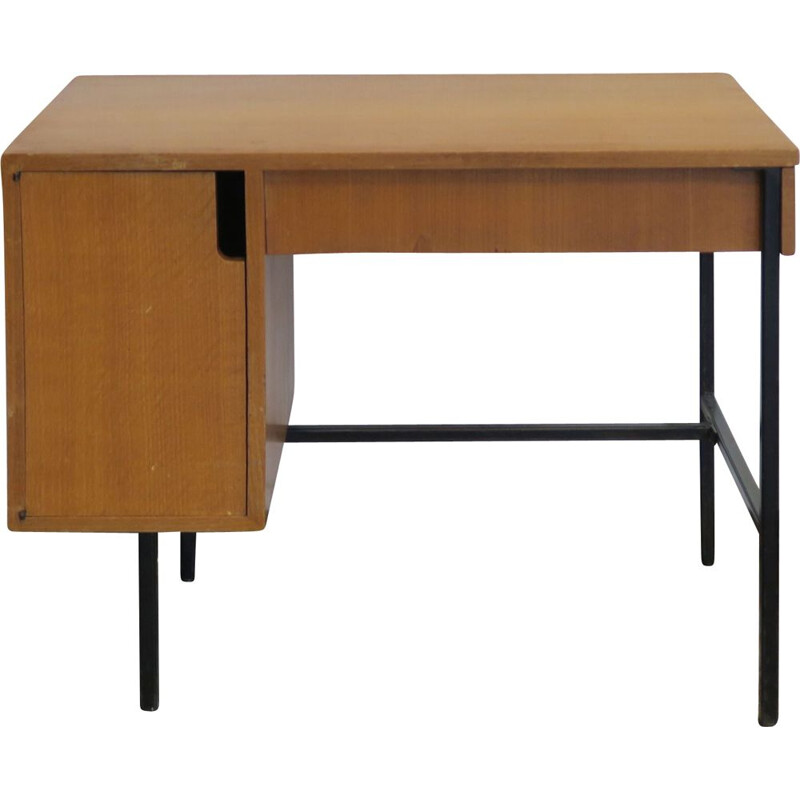 Vintage oak desk by Hitier, 1950