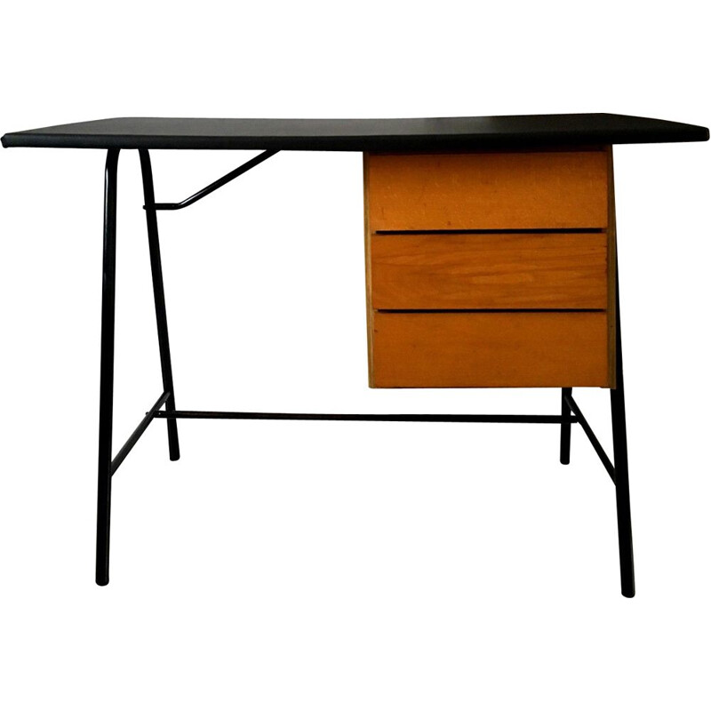 Vintage desk with black skai top and black lacquered metal structure, 1950