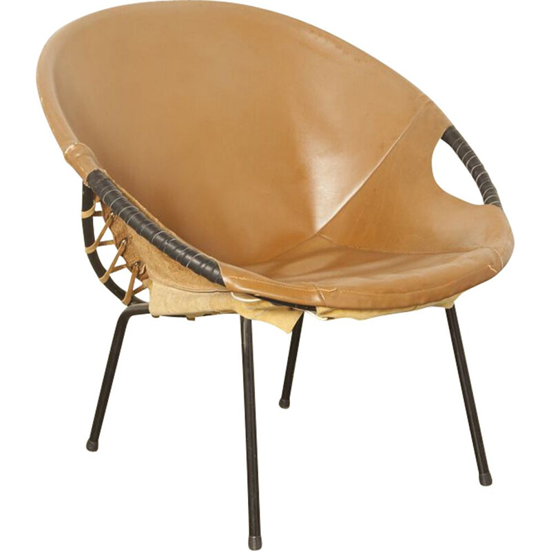 Vintage Circle Balloon chair from Lusch & Co in brown