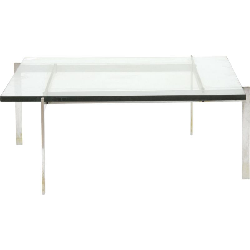 Vintage square coffee table with steel frame and glass top by Poul Kjærholm