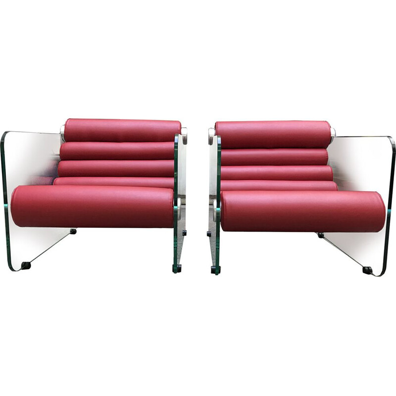 Pair of red leather Hyaline vintage armchairs by Fabio Lenci, 1972