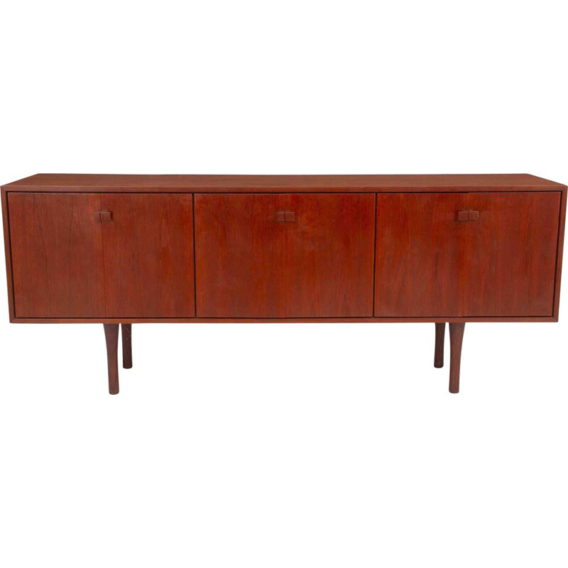 Vintage rosewood sideboard with 2 drawers and chromed metal handles