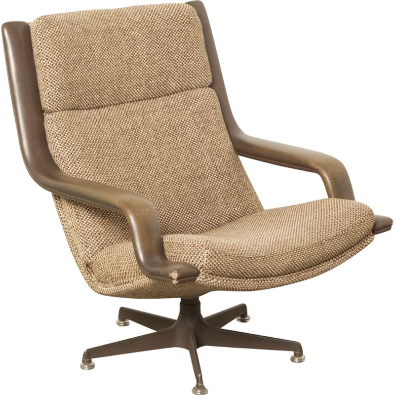 Vintage F140 lounge chair by Geoffrey Harcourt for Artifort in brown