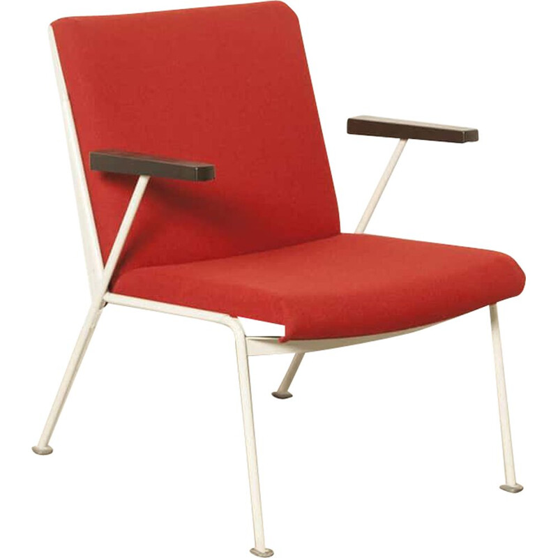 Vintage Oase chair by Wim Rietveld for Ahrend-De Cirkel in red wool