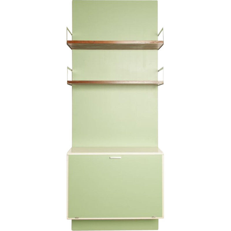 Vintage Japanese or U-series wall unit  bookcase by Cees Braakman for UMS Pastoe in pastel green