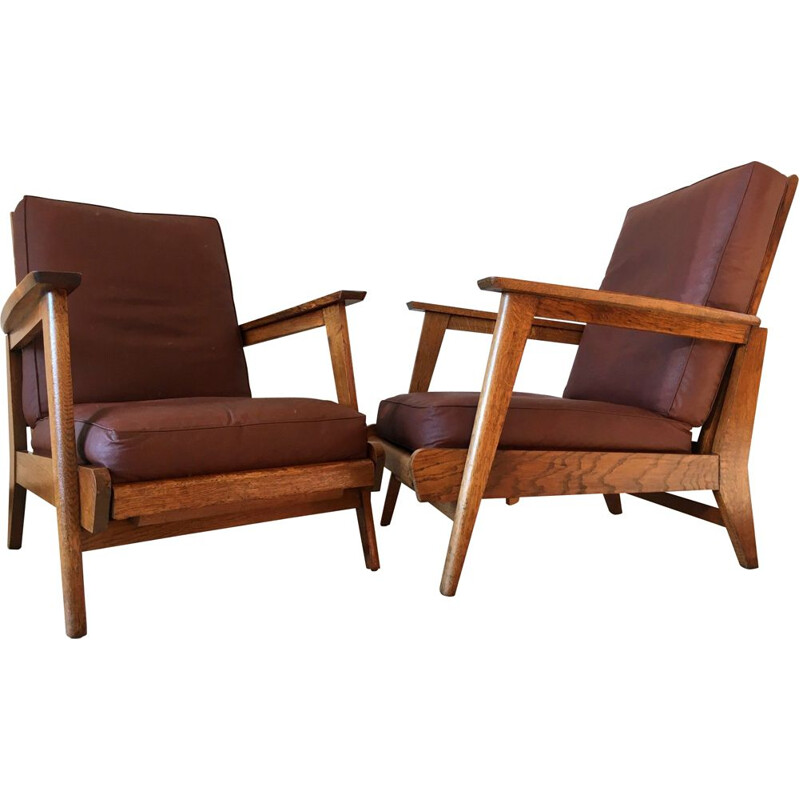 Pair of vintage oak armchairs 1950