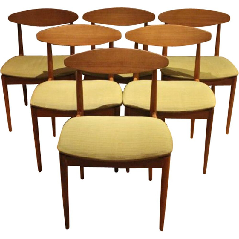 Set of 6 vintage Scandinavian style teak chairs by Ib Kofod Larsen for G-PLAN