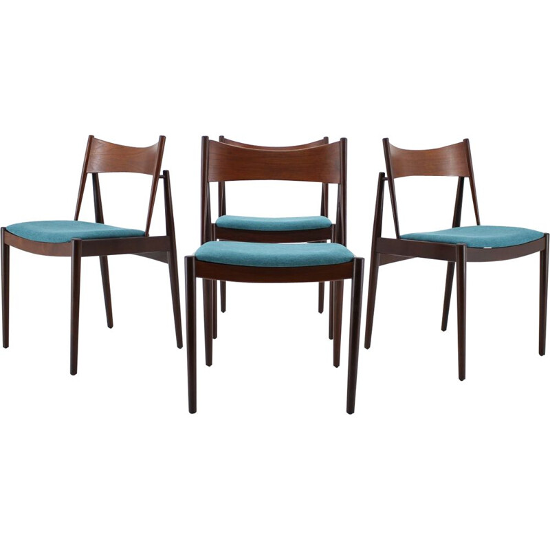 Set of 4 Vintage Rare Teak Dining Chairs by Vamo, Denmark 1960