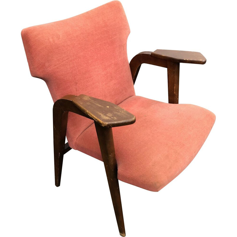Vintage armchair in oak from roger landault