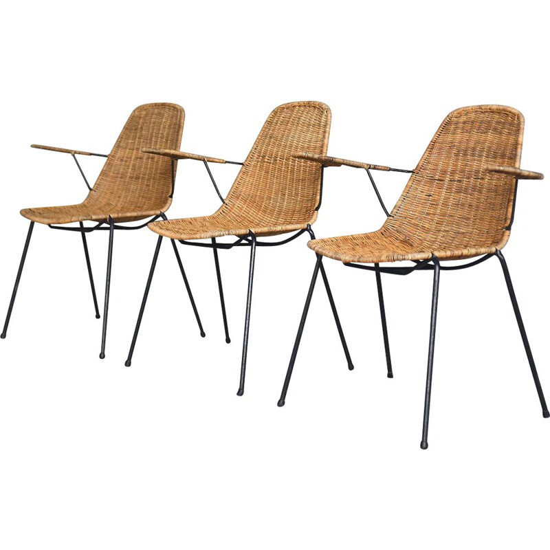 Set of 3 vintage Italian Modern Rattan Basket Chairs by Gian Franco Legler, 1950