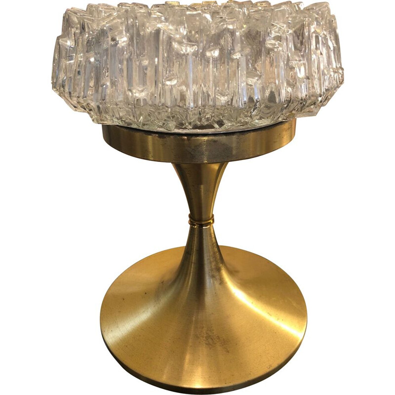 Vintage arlus lamp in glass and brass