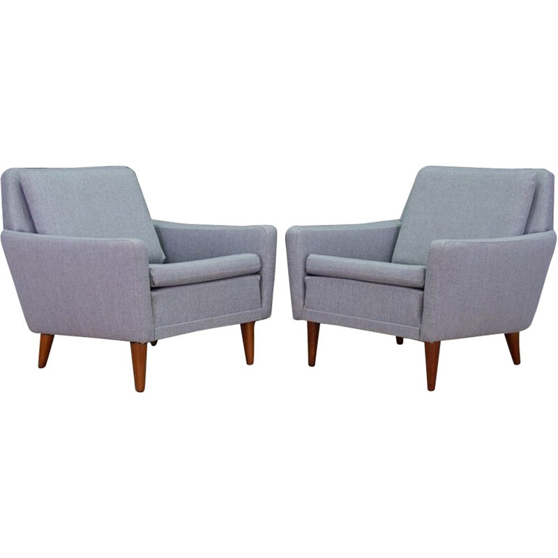Pair of grey Vintage Armchair, Scandinavian design by Folke Ohlsson, 1960