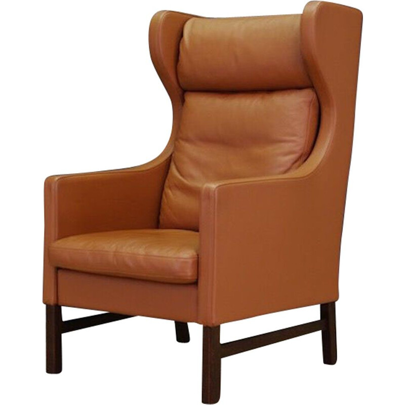 Vintage danish armchair for Skippers in brown leather 1970
