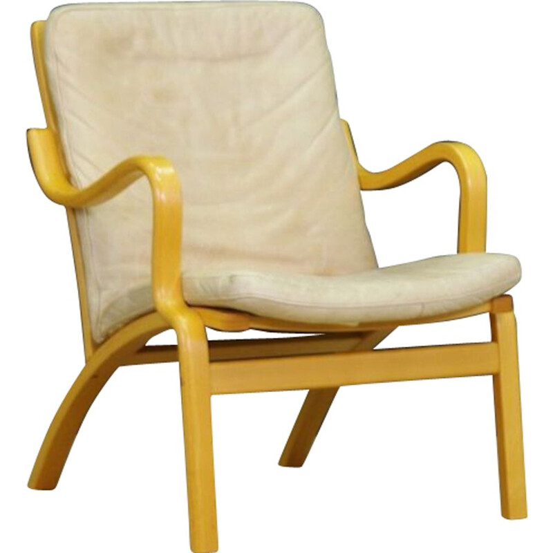 Vintage Danish armchair in beige leather by Stouby
