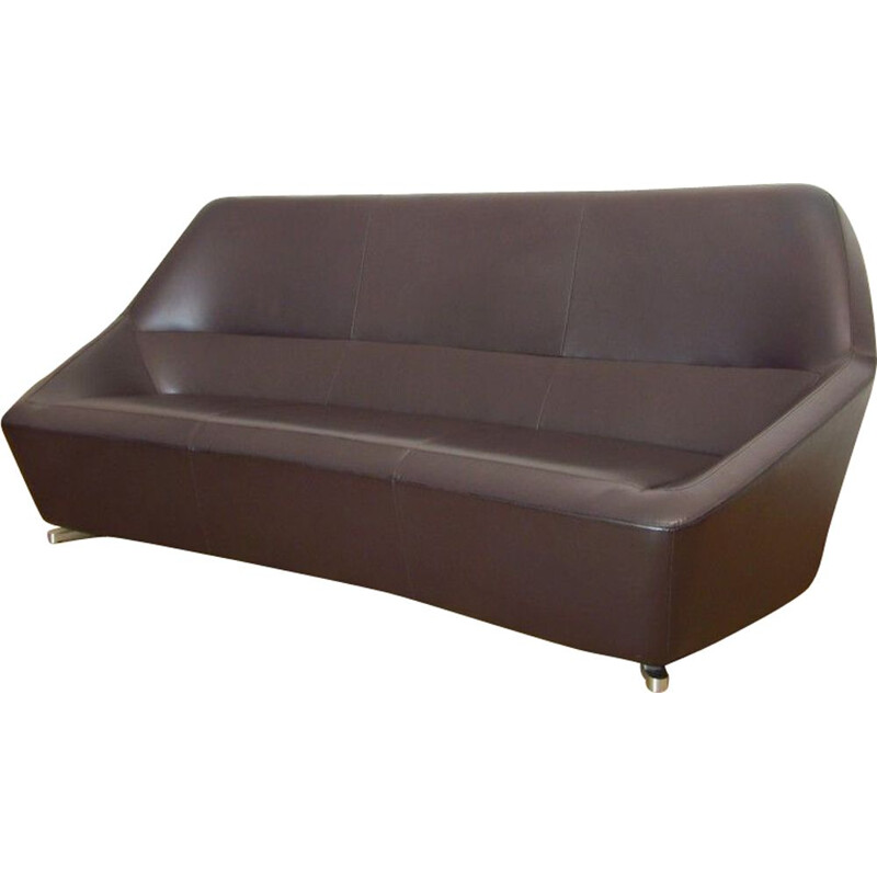 Vintage leather sofa by François Bauchet for Cinna
