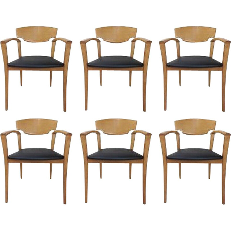 Set of 6 vintage solid beech chairs 1980