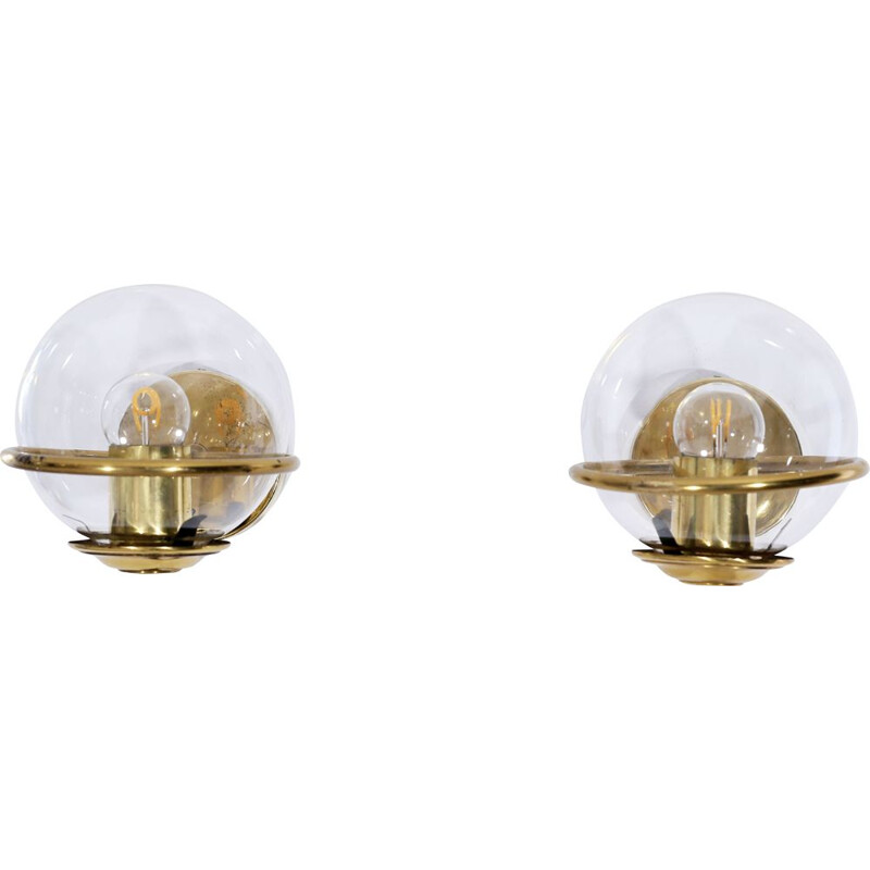 Pair of vintage italian globe sconces, 1960