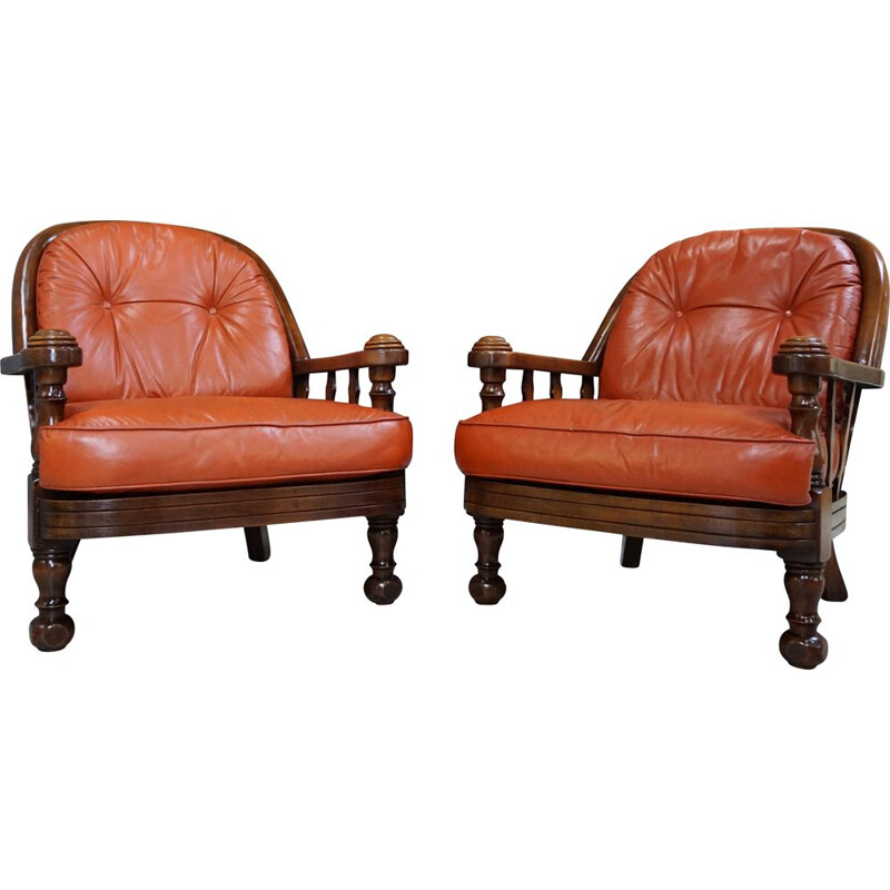 Pair of Belgian vintage armchairs in wood and leather