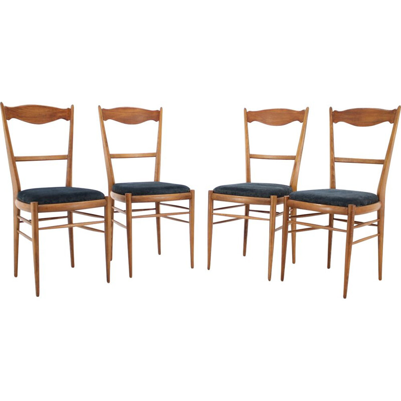 Set of four vintage Italian beech dining chairs, 1960s.