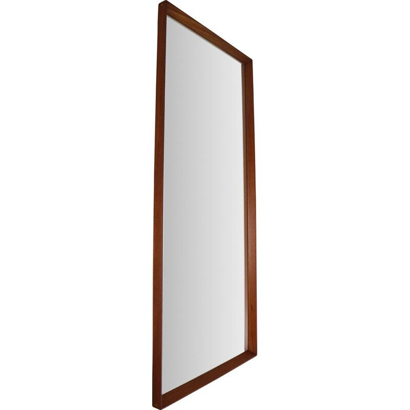 Vintage Scandinavian Modern Long Beveled Edge Teak Wall Mirror, 1950s Denmark