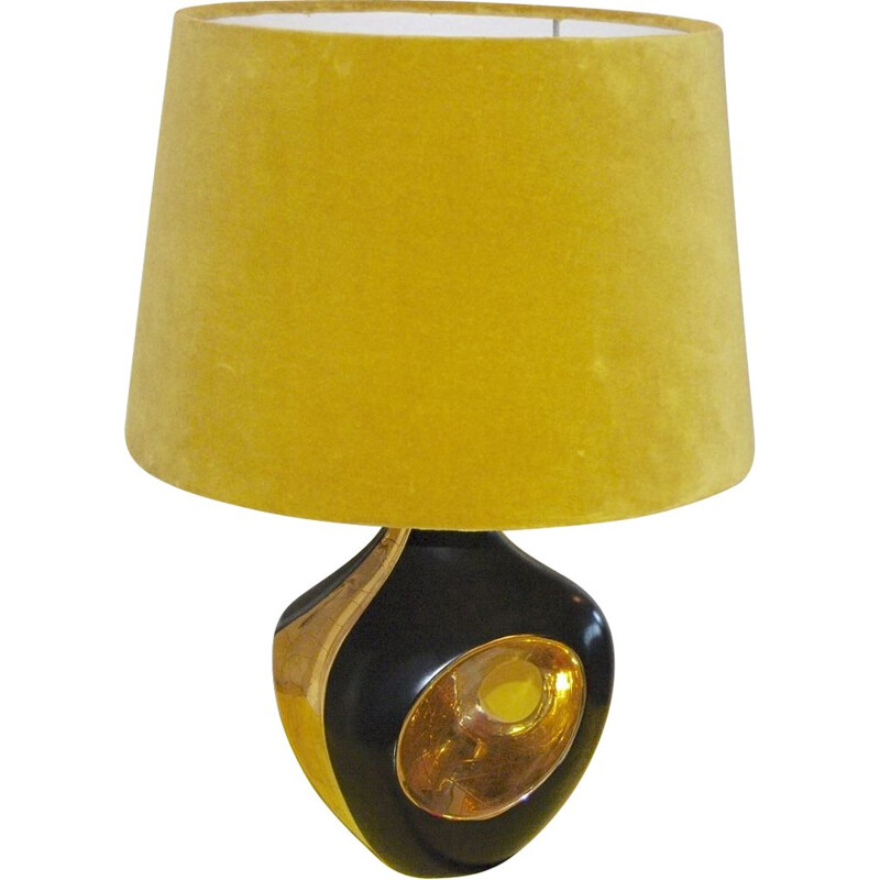 Vintage black and gold ceramic lamp 1970