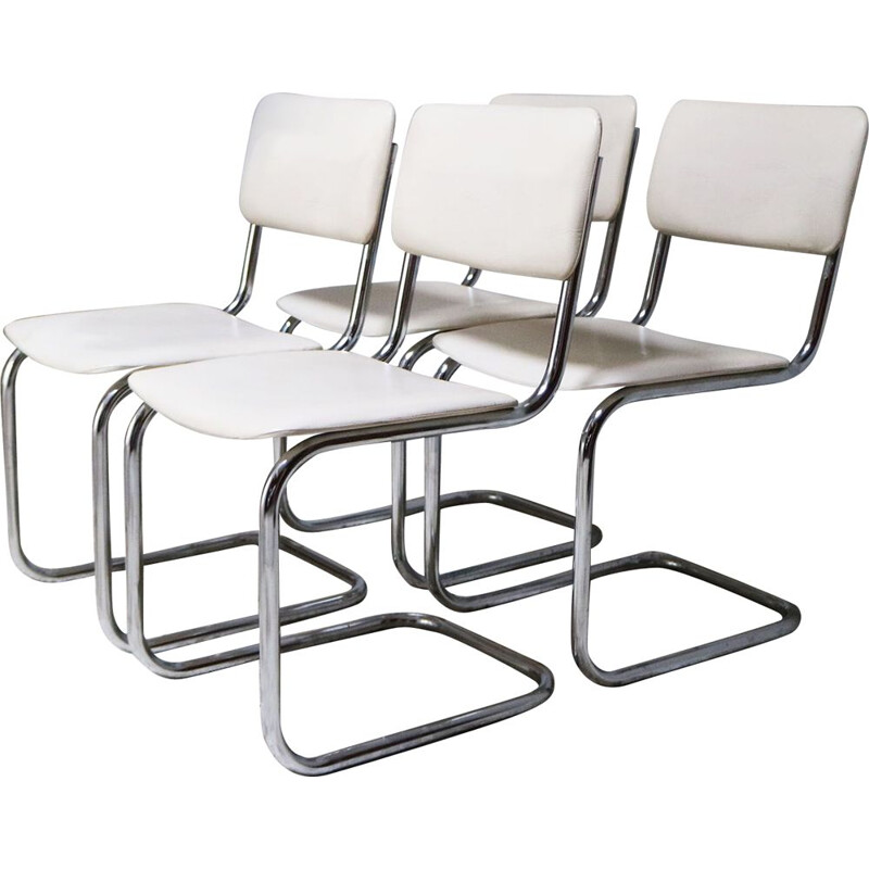Set of 4 vintage chrome and vinyl dining chairs 1970