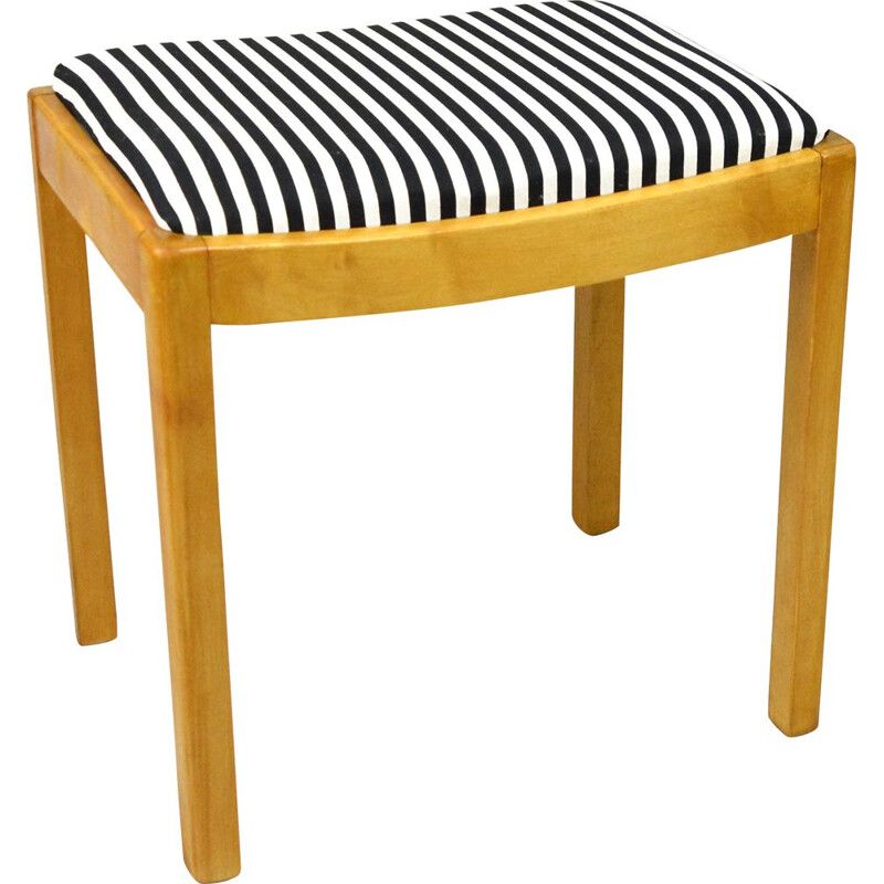 Vintage Zydel, upholstered stool after renovation, Germany 1940