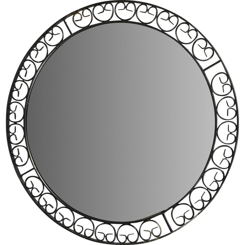 Vintage Round mirror made of metalwork, Germany 1960