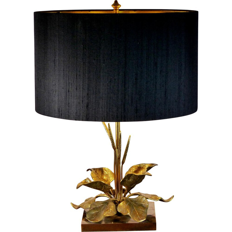 Vintage table lamp with gilded brass foliage