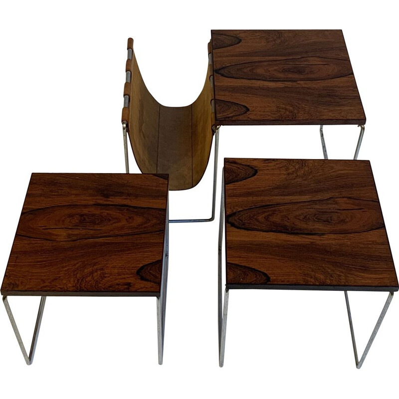 Vintage Nesting tables with leather magazine rack
