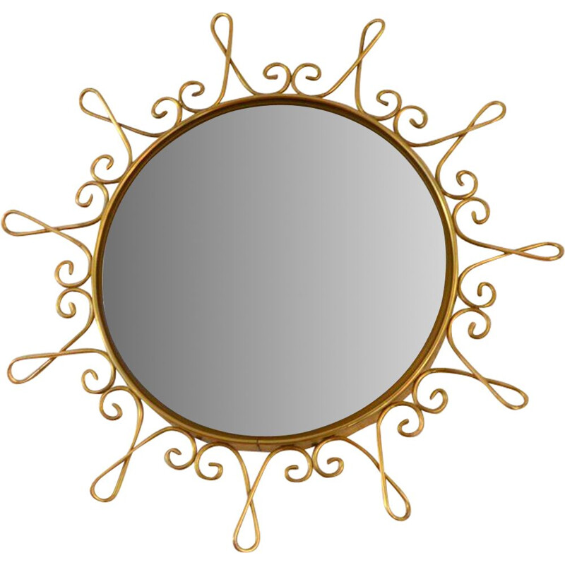 Vintage Witch's eye mirror Bombé 1950