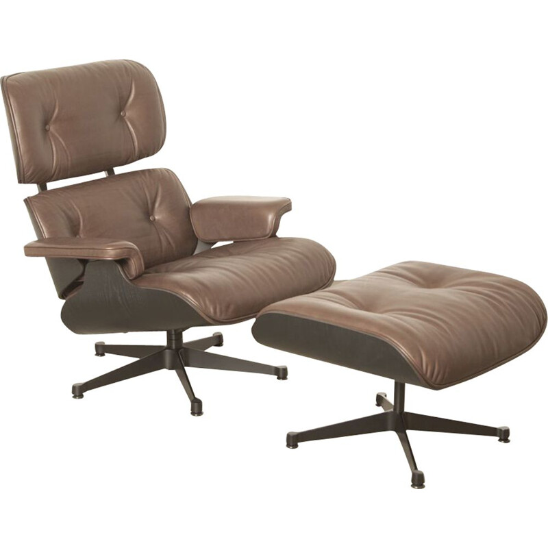 Vintage Lounge Chair and Ottoman by Charles & Ray Eames, made by Vitra in brown leather