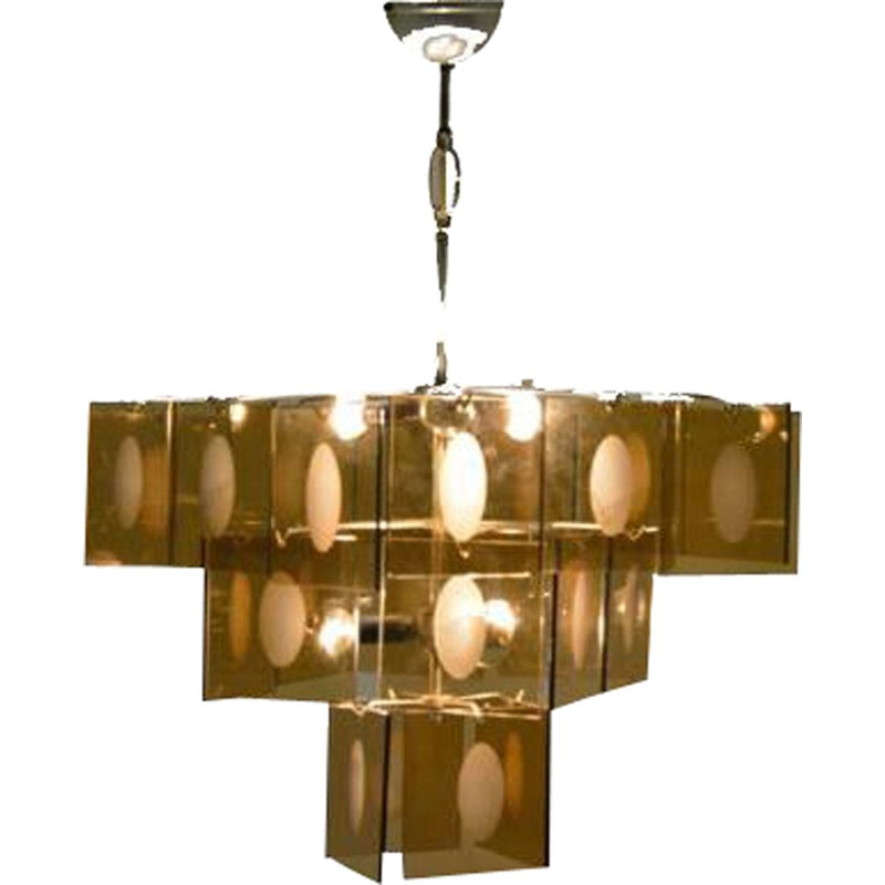 Vintage chandelier with plates 1970