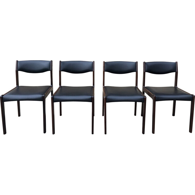 Set of 4 Scandinavian rosewood vintage chairs by SAX circa 1960
