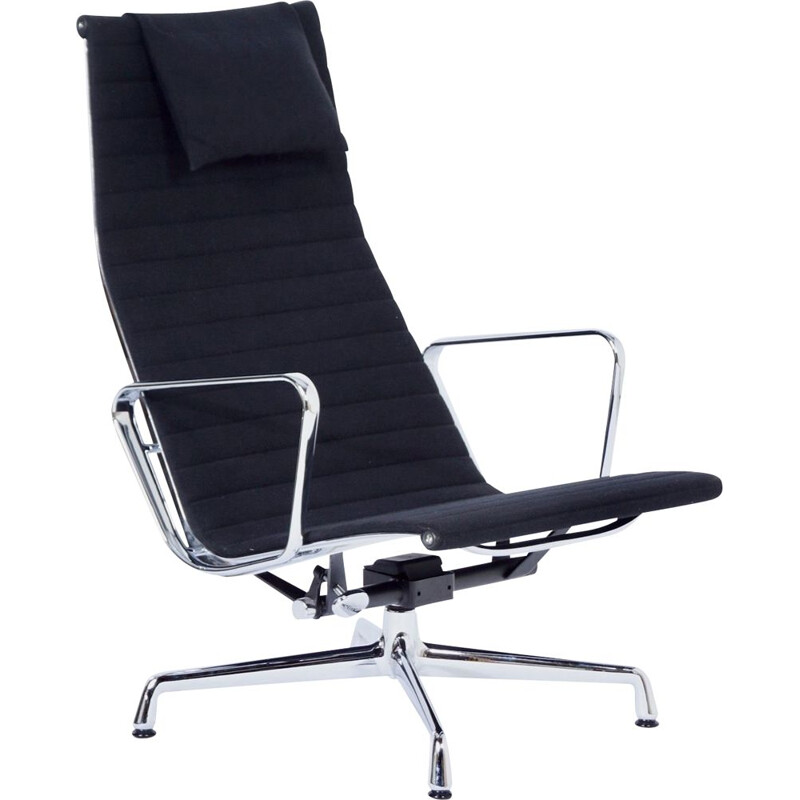 Vintage EA 124 Lounge Chair by Charles and Ray Eames for Vitra, Black Hopsack 2000