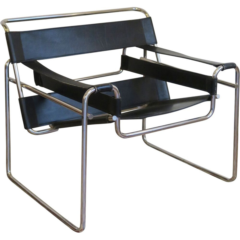 Vintage armchair B3 by Marcel Breuer at the Bauhaus circa 1980