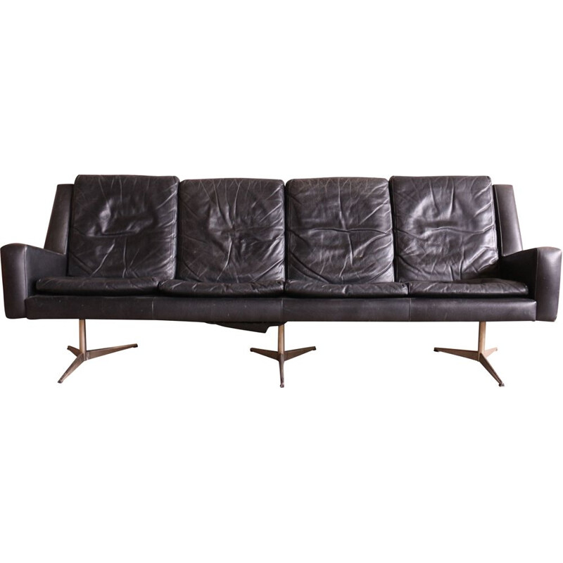 Vintage Danish 4 seater Leather Sofa by Skjold Sørensen, 1960