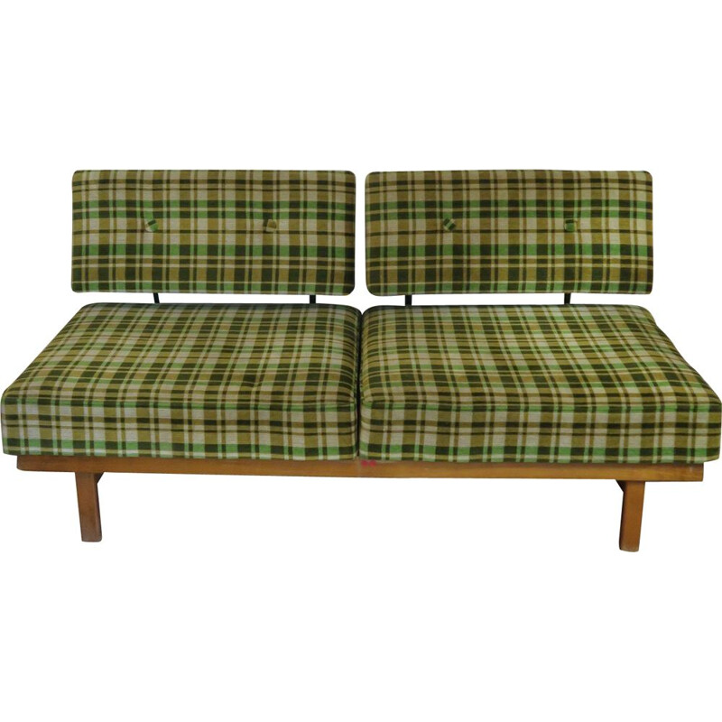 "Sofa, bench, daybed model ""Stella"" in green tartan velvet"