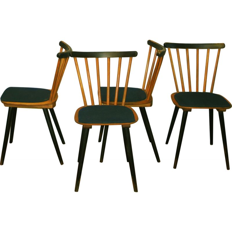 Vintage set of 4 chairs with splayed legs, plywood seats and petrol blue-green covers, 1950s