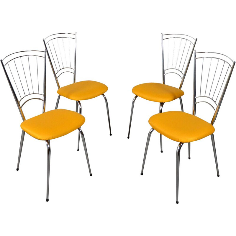 Suite of 4 vintage chairs with yellow seats, 1950-1960